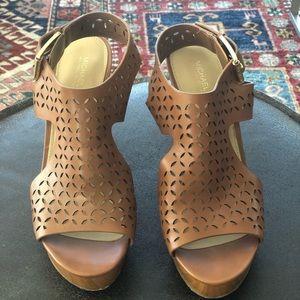 Michael Kors leather wedge heels, size 8.5